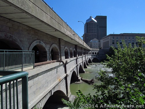 The Broad Street Bridge - the lower deck once carried the old Erie Canal; the upper deck today carries city traffic. Genesee Riverway Trail, Rochester, New York.