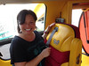 Jo Stougaard inside the WienerMobile