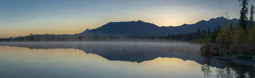 sky panorama lake mountains water fog alaska sunrise nikon beachlake d7100