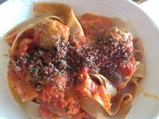 Goat cheese stuffed meatballs, pappardelle, Crumbs Yo!