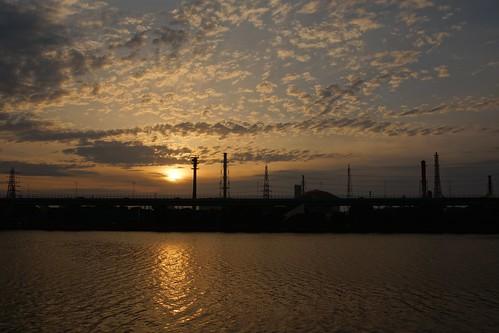 sunset japan cloudy 大阪 夕陽 日本 osaka 夕日 夕焼け
