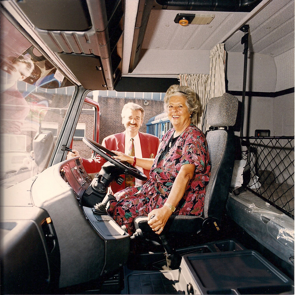 Betty Boothroyd, MP for West Bromwich East, visiting Keltruck in West Bromwich, 1992.