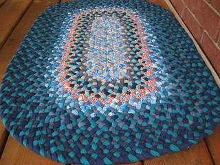 New Handmade Teal Denim Oval Rug
