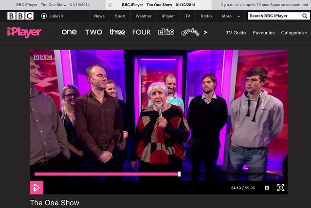 Till Wednesday on IPlayer still. I just observed my name on this photo snap of the screen. http://www.bbc.co.uk/iplayer/episode/b04httj8/the-one-show-01102014