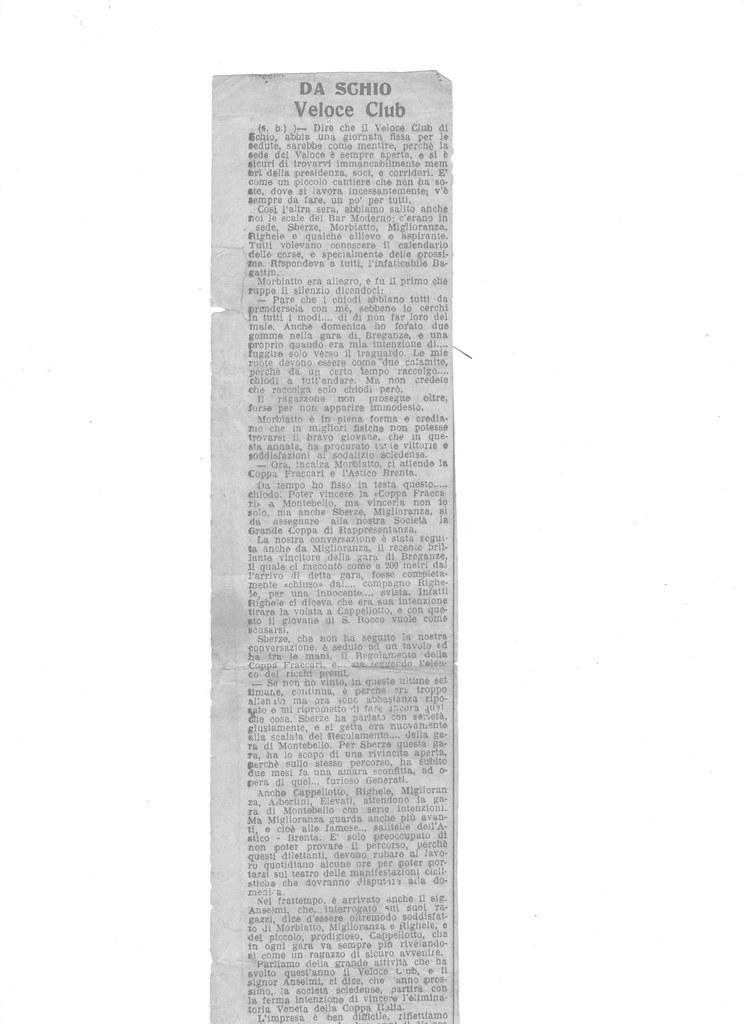 """Articolo di Bruno Scalco sul Velo Club Schio  - pag. 1  L'articolo  è stato ritagliato dal giornale dell'epoca dai membri della società Veloce Club di Schio di allora - pubblicato sul  """"IL GAZZETTINO"""" agosto 1936"""