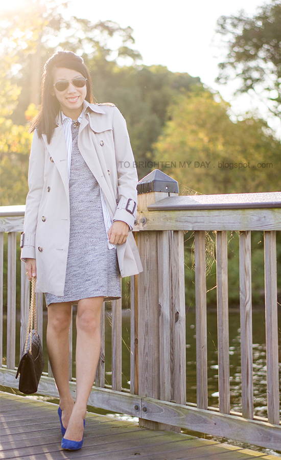 trench coat, striped button-down top, jeweled tweed dress, blue suede pumps