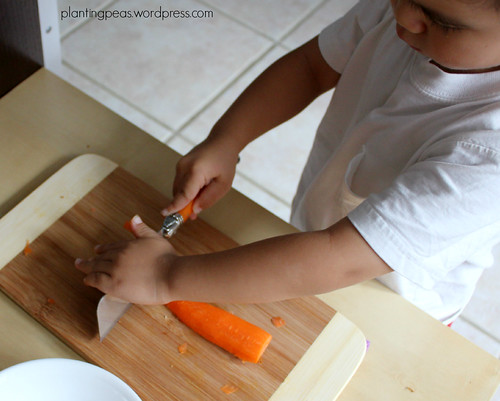 cutting carrots with cleaver