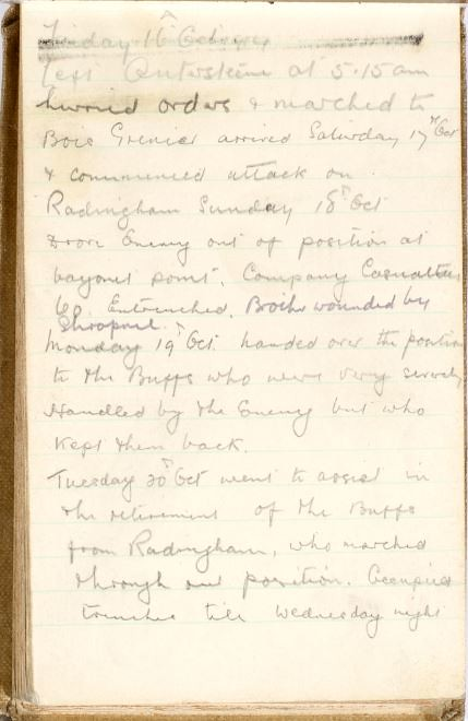 7 Sgt Lewis Sylvester diary entry