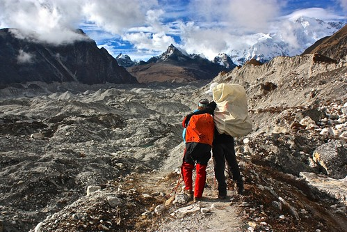 Lina and Kedem crossing the Ngozumba Glacier