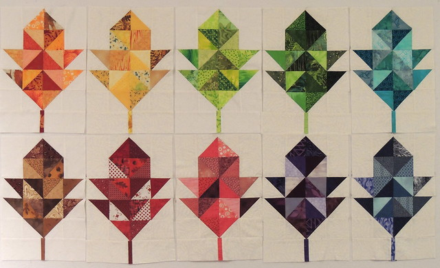10 Scrappy Oak Leaf Blocks