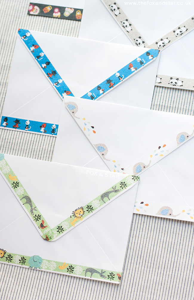 shinzi katoh diy washi tape envelopes : fox and star blog