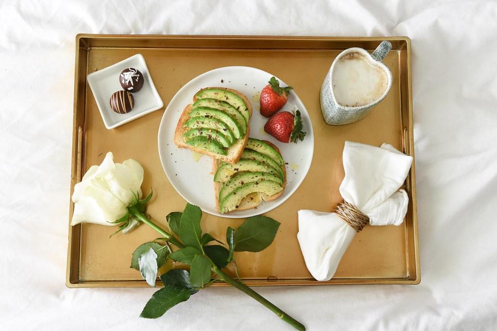 avocado toast breakfast in bed