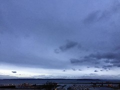 Monochromatic, mostly #everett #sunset #blue #clouds #color #olympics #portofeverett #portgardnerbay #whidbeyisland #pnwonderland #pnw #liveineverett #snohomishcounty
