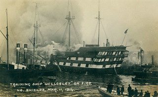 Training Ship 'Wellesley' on fire at North Shields