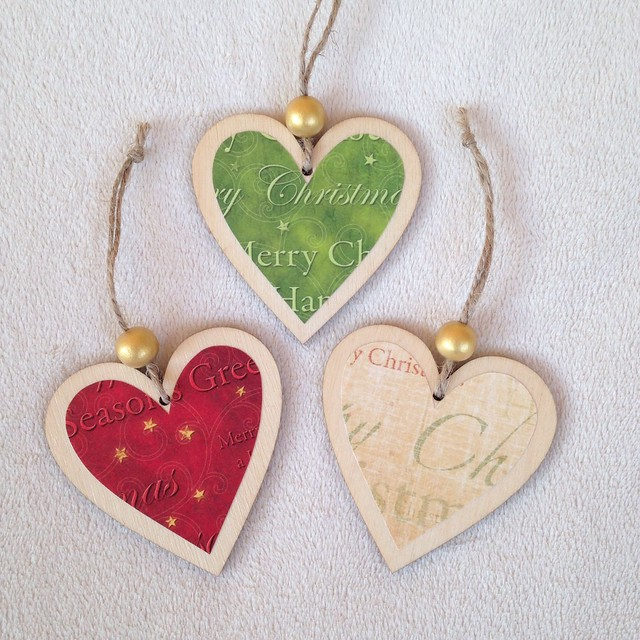 Handmade wooden heart christmas decorations flickr for Heart decoration ideas