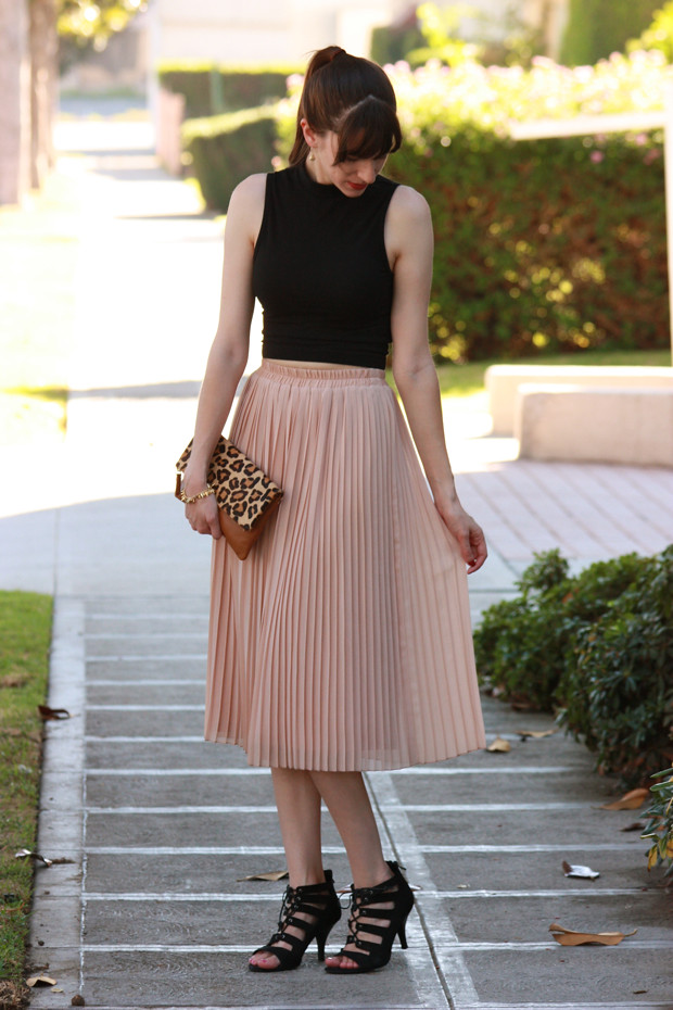 Crop Top, Midi Skirt, Leopard Clutch