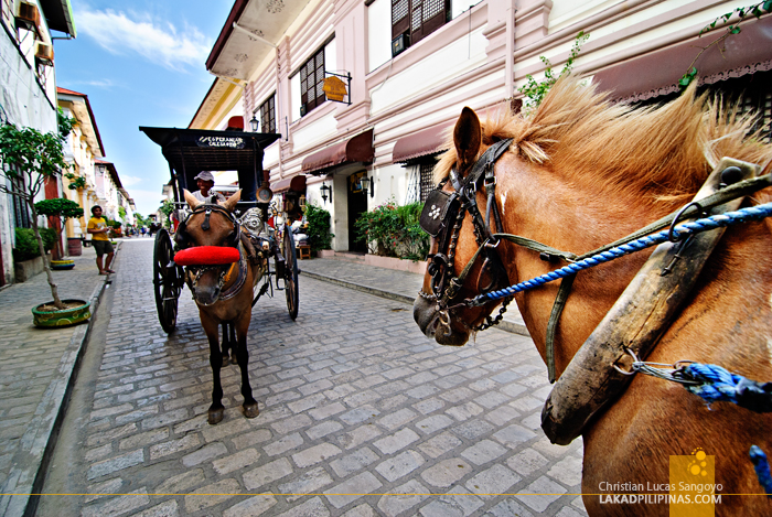 Riding a Calesa at Calle Crisologo in Vigan City