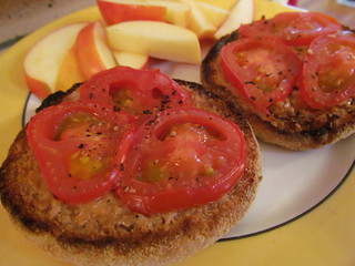 Open-Face Peanut Butter and Tomato Broil