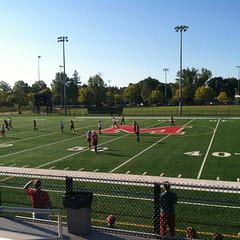 Beautiful morning for soccer on the big field.  Go Warriors !  #soccer #gowarriors #lovefall