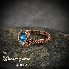 Bit of Dark Blue Rain - Lampwork and Copper Woven Wire Ring