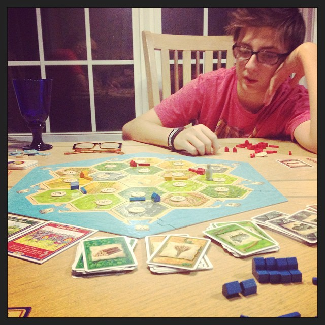 Playing Settlers of Catan for the first time, with birthday boy @dylan.m22. #Iwon