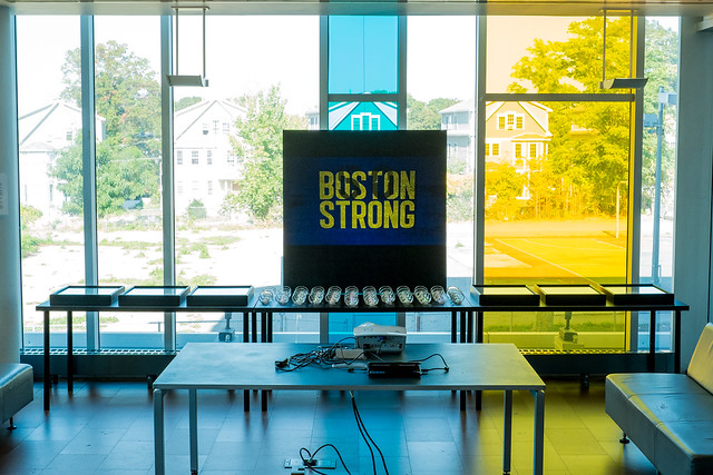 Boston Strong Question Mark Installation at Grove Hall BPL Branch 9-27-14