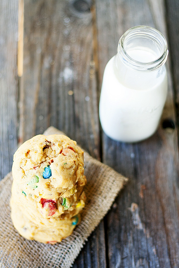 soft baked pumpkin m&m cookies