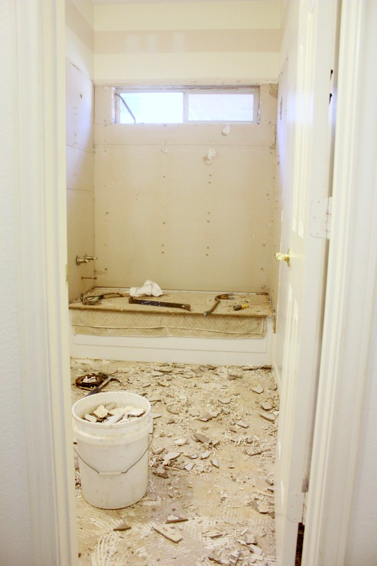 Hi Sugarplum | Big Box Bathroom makeover Day 1