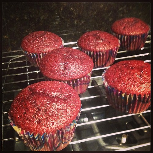 Red velvet cupcakes. Ready for cream cheese frosting. Yum.
