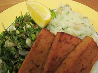 Basic Baked Tofu; Sauteed Escarole; Lemon-Dill Caulipots