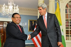 U.S. Secretary of State John Kerry and Burmese Foreign Minister Wunna Maung Lwin shake hands after addressing reporters at the U.S. Department of State in Washington, D.C., on September 30, 2014. [State Department photo/ Public Domain]