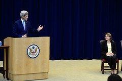 U.S. Secretary of State John Kerry delivers remarks at a Town Hall for employees in the Bureau of State for Civilian Security, Democracy, and Human Rights, hosted by Under Secretary Sarah Sewall, at the U.S. Department of State in Washington, D.C., on October 1, 2014. [State Department photo/ Public Domain]