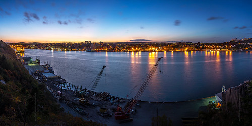 lighting city sunset summer panorama canada fall skyline night newfoundland evening twilight construction nikon scenery downtown cityscape waterfront harbour stjohns panoramic clear bluehour nfld nightfall atlanticcanada d600 stjohnsharbour newfoundlandandlabrador downtownstjohns nikond600