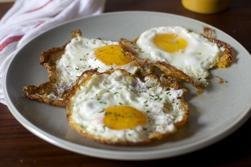 three-fer of crispy eggs