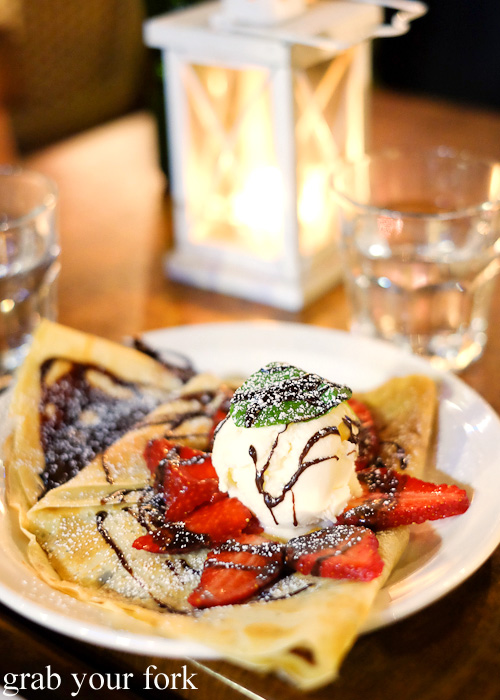 Crepe with fresh strawberries and warm melted chocolate at Creperie Le Triskel, Melbourne