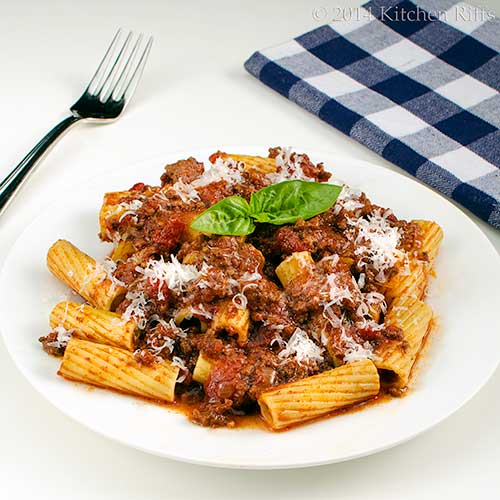 Italian Meat Sauce with pasta on plate