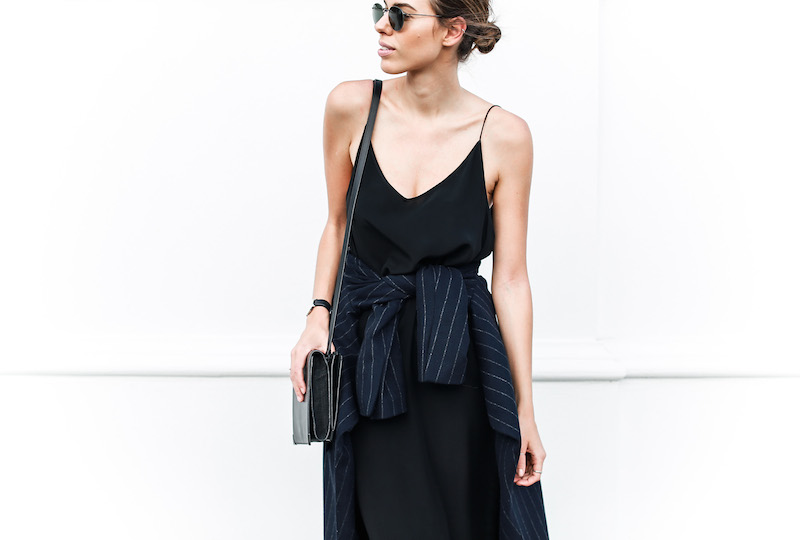 modern legacy fashion blog Australia pinstripe Zara coat street style Topshop cami silk slip dress Senso navy loafers Alexander Wang Envelope Prisma bag (7 of 10)