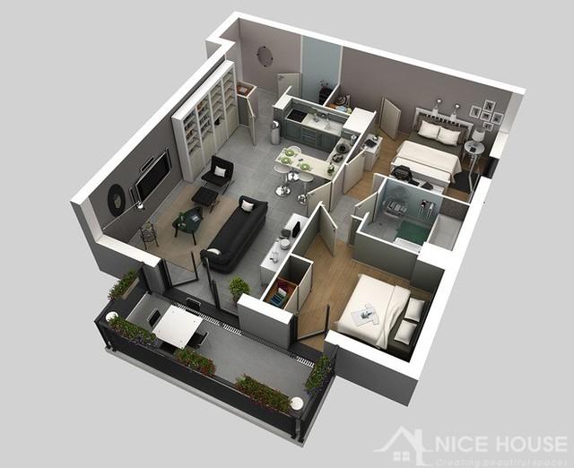 Thiết kế căn hộ chung cư 2 phòng ngủ 4