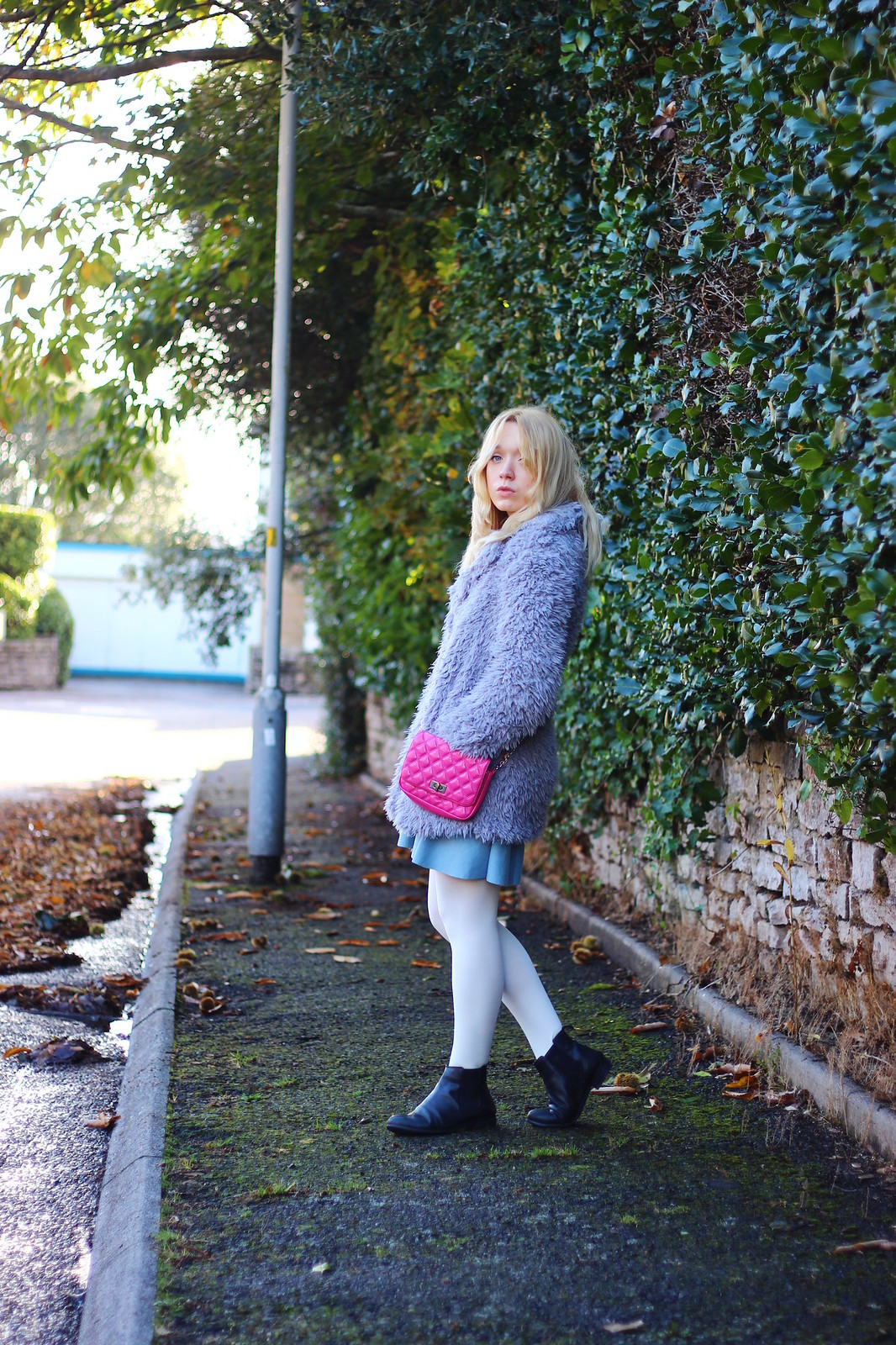 4lilaccoat, pastel outfit, fluffy coat
