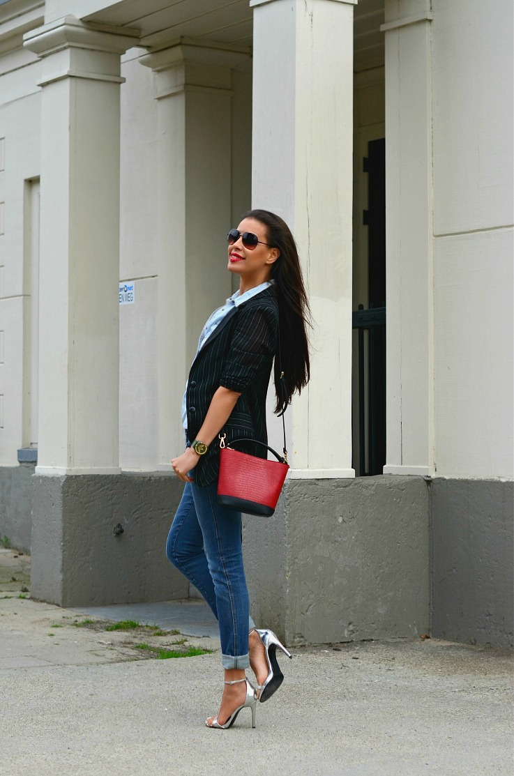 Denim On Denim, Red Zara bag, Tamara Chloé, Pinstriped blazer