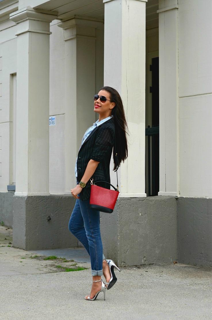 Denim On Denim, Red Zara bag, Tamara Chloé, Pinstriped blazer