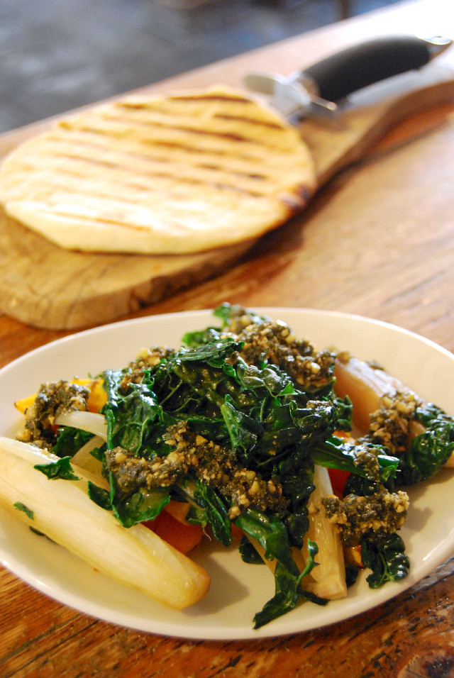 Roasted Pumpkin & Cavlo Nero with Sage & Cobnut Pesto