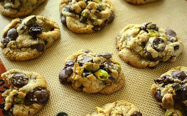 Dark Chocolate, Cherry & Pistachio Cookies