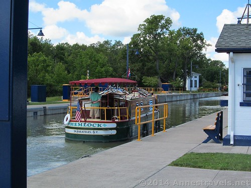 A boat in Lock 33, Erie Canal Path, Rochester, New York