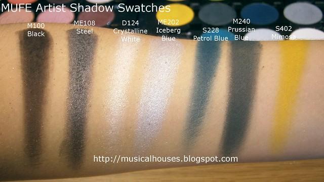 MUFE Artist Shadow Eyeshadow Swatches 1 Row 2