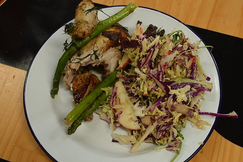 Roast chicken, asparagus, tapenade + cabbage, apple slaw