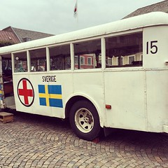 White bus Red cross #Sweden