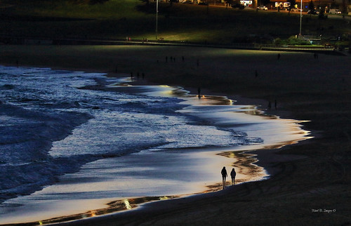 ocean longexposure sunset people reflection beach water bondi silhouette night canon geotagged photography sand flickr walk sydney australia nsw stroll bondibeach australianbeaches canon5dmarkiii