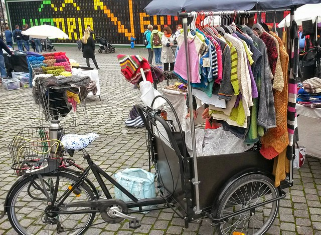 A clothes stall on a Danish bike