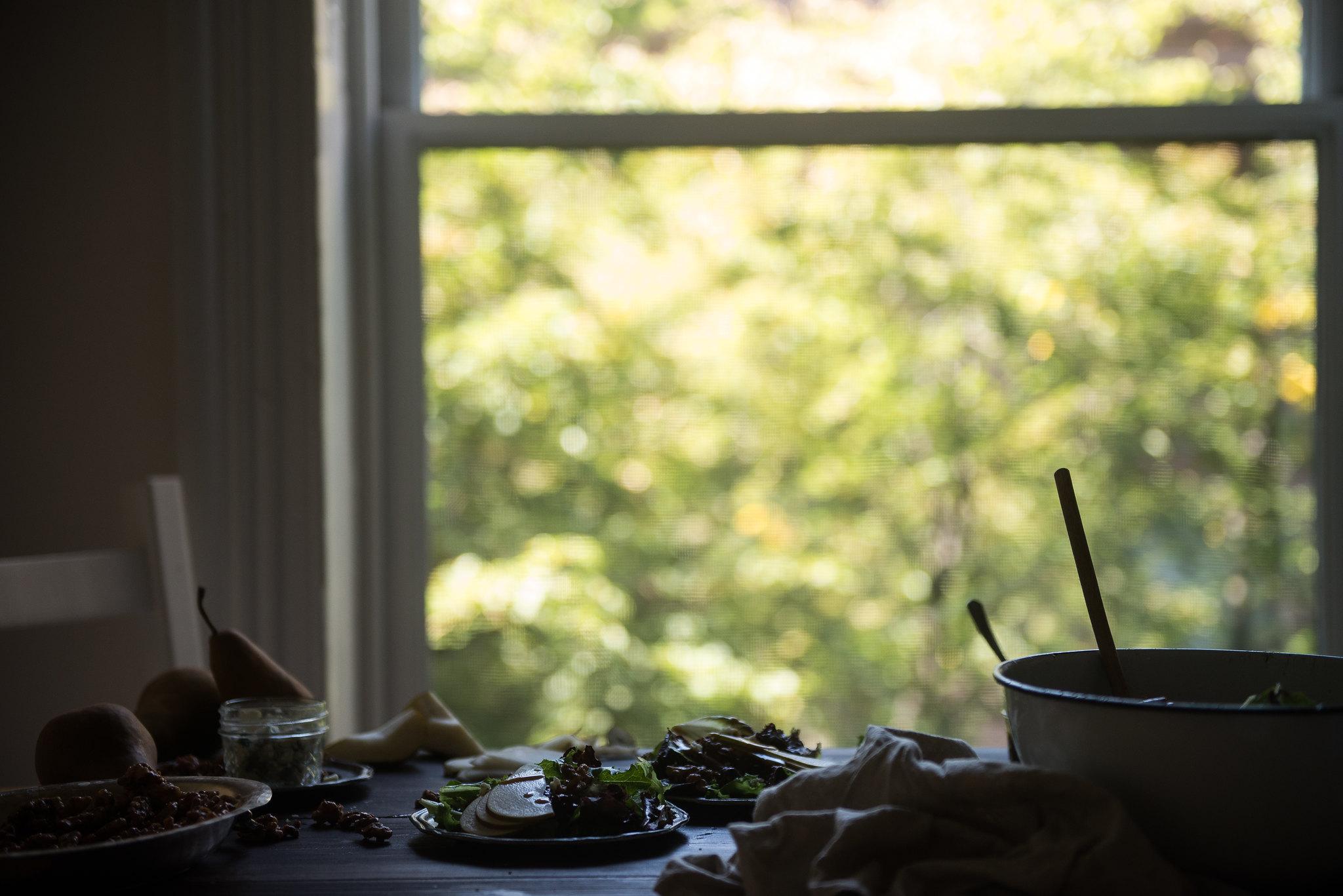 fall salad with pear, gorgonzola, and cinnamon-glazed walnuts